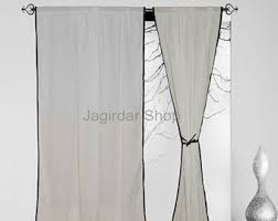 Black And Fuchsia Curtains Tie Top Curtains Etsy