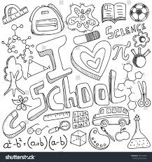 doodle with back school doodle black white education stock vector 741410323