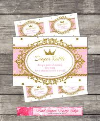 Card Inserts For Invitations Diaper Raffle Card Inserts Royal Princess Baby Shower Pink