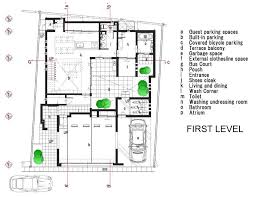 Perfect Home First Level Floor Plan With Garage And Indoor Plants - Perfect home design