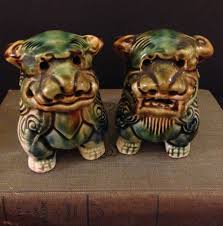 fu dogs foo dog figurine pair shi shi dog lions