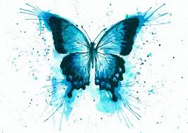 exellent blue watercolor butterfly with a lot of splashes
