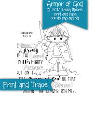 armor of god print and trace bible journaling aid coloring page