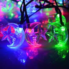 outdoor christmas lights stars solar powered 25ft 40 led stars and moons festival string light