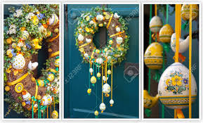 Spring Decoration by Easter Wreath Spring Decoration On The Wooden Door Of The House