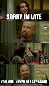 Late Meme - skinhead john travolta meme imgflip