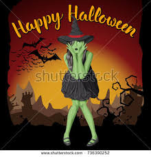vector halloween concept green witch woman stock vector 740131273