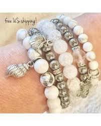 white bead bracelet images Amazing deal beaded bracelets set of 5 white silver boho