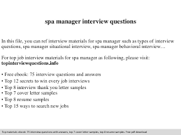 Resume For Spa Manager Spa Manager Interview Questions