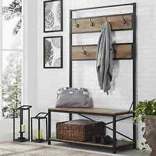 wooden entryway storage bench coat and hat rack tall mudroom with