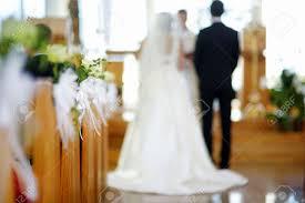 beautiful flower wedding decoration in a church during catholic