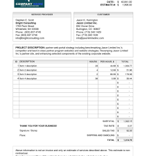 invoice quote template free printable invoice with free estimate