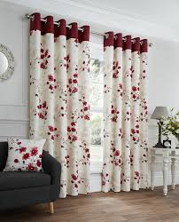 Eyelet Curtains Paige Red Floral Ready Made Eyelet Curtains Harry Corry Limited