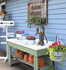 Merry Garden Potting Bench by Rustic Potting Sink Bench Decor U0026 Annuals Organizedclutter Net