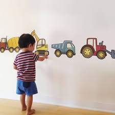 construction vehicle peel and stick repositionable fabric stickers construction vehicle wall stickers