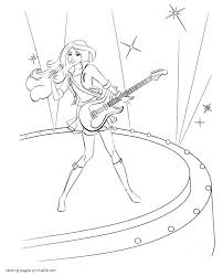 guitar coloring pages to print barbie with rock guitar coloring pages 10