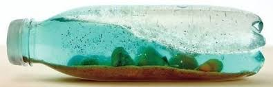 ocean in a bottle sand water small shells blue food coloring