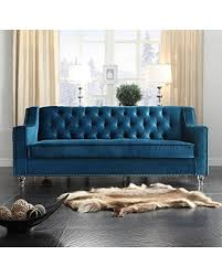 Velvet Sofa For Sale by Deal Alert Iconic Home Dylan Modern Tufted Navy Blue Velvet Sofa