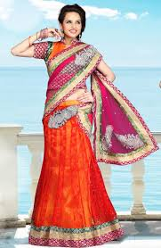 lehnga style wedding sari in net fabric in red pink combination
