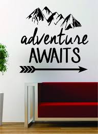 adventure awaits version 2 mountains arrow design decal sticker