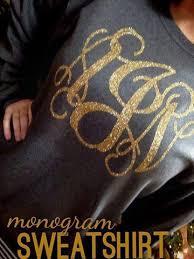 gold monogram monogram sweatshirt charcoal gray gold glitter kk s