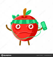 cute cartoon happy red apple listening to the music with a