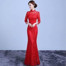 evening wedding dresses lace cheongsam traditional dress women modern