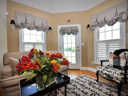 brown raffle valances for living room windows combined with white