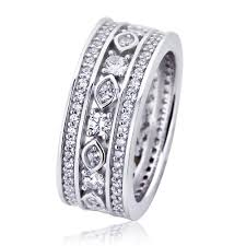 Art Deco Design Double Accent Platinum Plated Sterling Silver Wedding Band Round