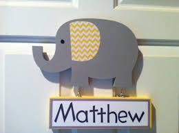 Gray Elephant Nursery Decor by Elephant Door Sign Nursery Decor Wooden Elephant Name Sign