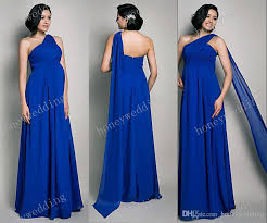 plus size chiffon maternity evening dresses one shoulder royal