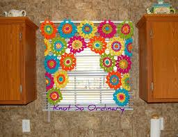 Crochet Valance Curtains Window Valance Flower Valance Kitchen Curtain Crochet