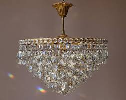 Vintage Crystal Chandeliers Low Ceiling Light Etsy