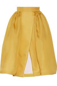 Yellow Mustard Color Delpozo Silk Blend Gazar Midi Skirt In Yellow Lyst