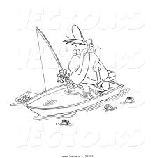 fish outline coloring page vector of a cartoon drunk man fishing in a sinking boat coloring
