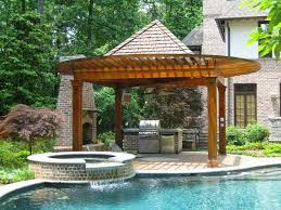 backyard designs with pool and outdoor kitchen u2013 home improvement 2017