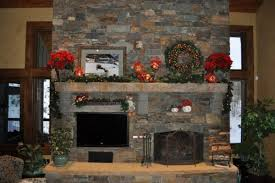Stacked Stone Around Fireplace by Stone Mantelpiece Around Green Twigs Garland Combined Stacked