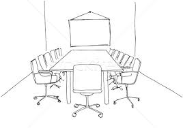 conference room in a sketch style hand drawn office desk office