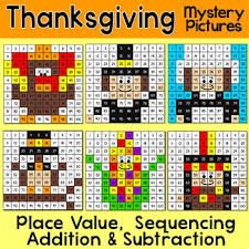 thanksgiving math place value addition and subtraction