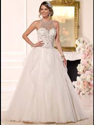 Halter Wedding Dresses Stella York 6232 Illusion Halter Ball Gown Wedding Dress