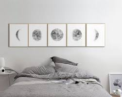 large moon phases prints set of 5 watercolor lunar phases