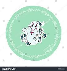 halloween website template cute vector halloween illustration kawaii ghost stock vector