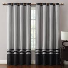 Grommet Window Curtains Barclay Black Grey Grommet Window Curtain Panel 55x84 Window