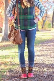 womens duck boots target tartan vest and duck boots autumn fallfashion inspiration