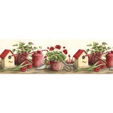 shop norwall 9 5 in red prepasted wallpaper border at lowes com