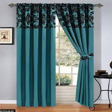 luxury damask curtains pair of half flock pencil pleat window