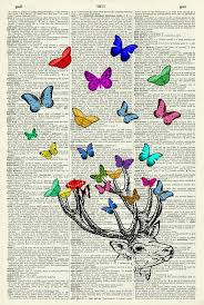 stag head with multi coloured butterflies vintage dictionary art