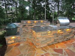 Outdoor Kitchen Bbq Designs Stones Custom Outdoor Kitchen With Bbq Grill Overlooking