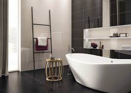 Finished Bathroom Ideas Black High Glossy Finished Sink Black And White Bathroom Ideas