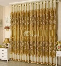Custom Sheer Drapes Decoration And Breathable Luxury Golden Peony Pattern Jacquard